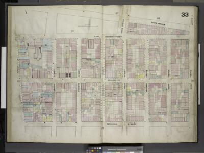 [Plate 33: Map bounded by First Street, Essex Street, Rivington Street, Bowery; Including Stanton Street, Christie Street, Forsyth     Street, Eldridge Street, First Avenue, Allen Street, Orchard Street, Ludlow      Street, Avenue A]