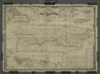 Mapa topografico de la isla de Puerto Rico; Contornos de Ponce [inset with title of full page map]; Mapa de los contornos de San Juan de Puerto Rico [inset] ; Plano de San Juan de Puerto Rico [inset.