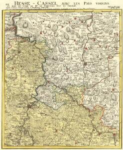 Le Landgraviat de Hesse-Cassel Meridional et Septentr: avec une Partie du Landgraviat de Hesse-Darmstat et de la Vetteravie avec autres dependences