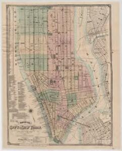 Map of the city of New York : with street directory showing house-numbers, hotels, churches, banks, theatres, ferries, house-car, steam and elevated R.R'ds, &c