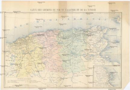 Carte des chemins de fer de l'Algérie et de la Tunisie