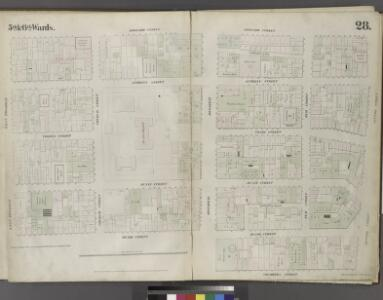 Plate 28: Map bounded by Leonard Street, Centre Street, Chambers Street, Broadway, Reade Street, West Broadway.
