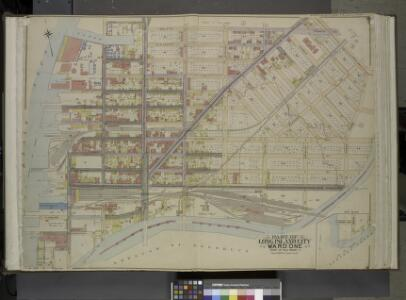 Queens, Vol. 2, Double Page Plate No. 1; Part of Long Island City Ward One (Part of Old Ward One); [Map bounded by Division St.,       Vernon Ave., 12th St., Ely Ave., Jackson Ave., Thomson Ave., Nott Ave., Creek    St., Dutch Kill Creek, Newtown Cree