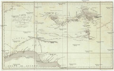 Carte des découvertis faites dans le centre de l'Afrique