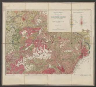 Professor G. Theobald's geologische Karte von Ober Engadin & Bernina mit den angrenzenden Thälern im Ost und Süd
