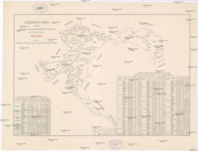 Uibersichts Karte über den jochweisen durchschnittlichen Reinertrag der Culturgattung Wiesen in den Grenzbezirken der einzelnen Landes u. Landes-Sub-Commissions-Rayons
