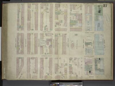 [Plate 27: Map bounded by Montgomery Street, South    Street, Rutgers Slip, Rutgers Street, Division Street; Including East Broadway,  Canal St, Henry Street, Madison Street, Monroe Street, Cherry Street, Water      Street]
