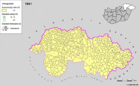 A szlovákok településterülete a szomszédsági mutató alapján Északkelet-Magyarországon 1941-ban
