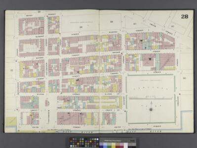 Manhattan, V. 1, Double Page Plate No. 28 [Map bounded by Grand St., Corlears St., South St., Montgomery St., Henry St.]