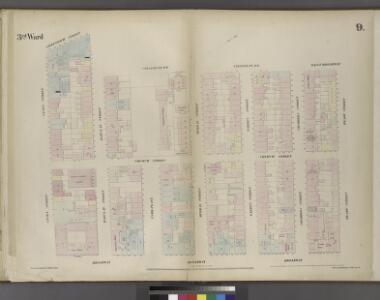 Plate 9: Map bounded by Greenwich Street, Barclay Street, College Place, West Broadway, Reade Street, Broadway, Vesey Street.