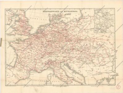 Eisenbahnkarte von Mitteleuropa