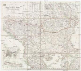 General-Karte der europäischen Türkei und des Vladikats Montenegro