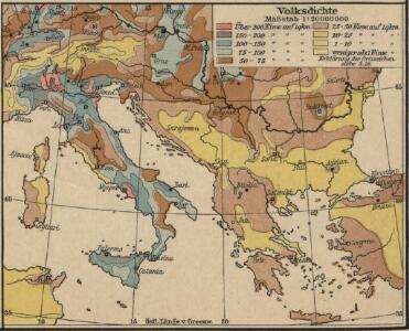 Italien und Balkanhalbinsel. Nebenkarten I. 1 Volksdichte