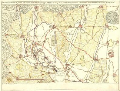 Plan allwo die blutige u. fatale Rencontre, zwischen denen fürstl. Ötting. u. Grälich Watterstein. und dann zwischen denen Nördlingern andern theils Vorberg gegangen so geschehen d. 19. Aug. 1726