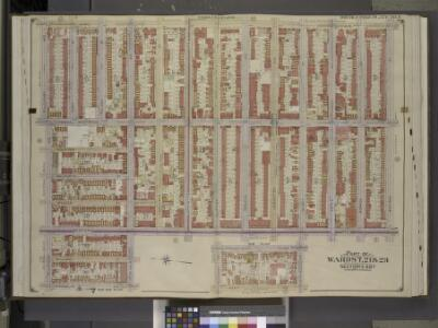 Brooklyn, Vol. 2, Double Page Plate No. 9; Part of    Wards 7, 21 & 23, Sections 6 & 7; [Map bounded by Marcy Ave., Madison St.,       Bedford Ave.; Including  De Kalb Ave., Franklin Ave., Willoughby Ave.]; Sub      Plan; [Map bounded by Franklin Ave.