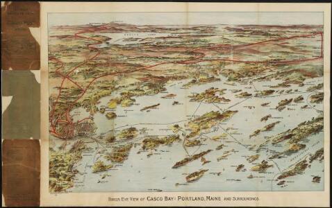 Birds eye view of Casco Bay, Portland, Maine and surroundings