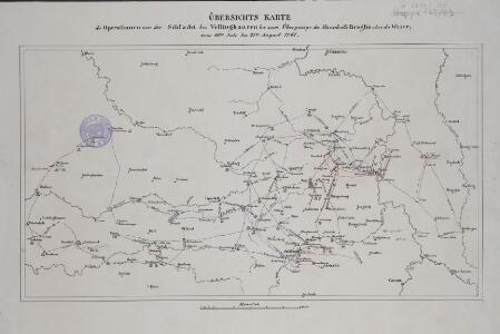 Übersichts Karte der Operationen von der Schlacht bei Vellinghausen bis zum Übergange des Marschalls Broglio über die Weser, vom 16ten Juli bis 21ten August 1761