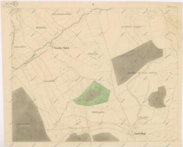 Katastrální mapa obce Fleky spolu s obcemi Červené Dřevo, Lindlův Dvůr, Radošín a Webrův Dvůr