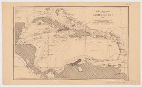 Contour map of the Caribbean Sea 1885