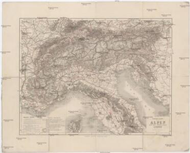 Strassen Karte der Alpen und des nördlichen Apennin