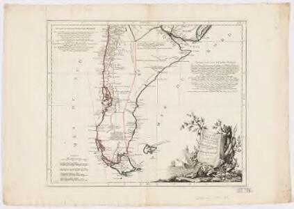 Carte du Chili méridional, du Rio de la Plata des Patagons, et du Détroit de Magellan : ce qui fait l'extremité australe de l'Amérique Meridle