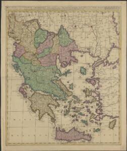 Graeciae et Archipelago divisus in singulares regiones Macedoniae, Albaniae, Epiri, Thessaliae, Achaiae et Moreae, quibus accedunt insulae Candia, Corcyra, Cephalonia, Zacyntho, Stalimine, Metelino, Chius, etc