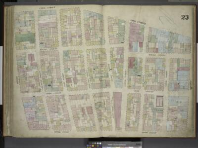 [Plate 23: Map bounded by Canal Street, Broadway,     Broome Street, Bowery; Including Hester Street, Howard Street, Grand Street,     Elizabeth Street, Mott Street, Mulberry Street, Baxter Street, Centre Market     Place, Centre Street, Elm Street, C