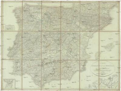 Carte d'Espagne et de Portugal en neuf feuilles