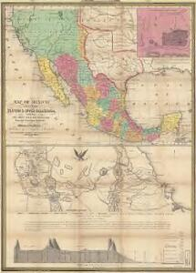 Map of Mexico : including Yucatan & Upper California, exhibiting the chief cities and towns, the principal travelling routes &c
