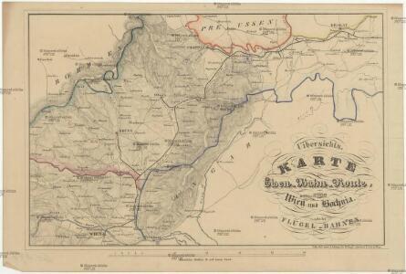 Uibersichts Karte der Eisen-Bahn-Route, zwischen Wien und Bochnia, nebst den Flügel-Bahnen