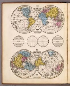 World ... Equatorial Projection and Polar Projection.