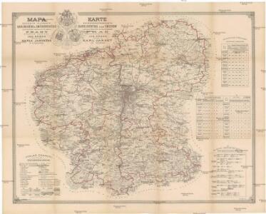 Mapa okresních hejtmanství karlínského a smíchovského a politického okresu kr. hl. města Prahy