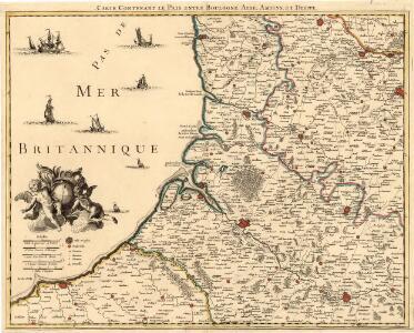 Carte Contenant le Pais entre Boulogne, Aire, Amiens, et Dieppe