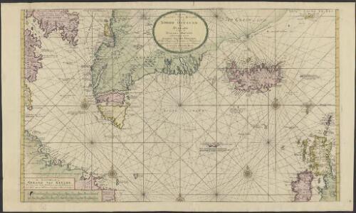 Nieuwe platte pas kaart van de Noord Occiaan van Hitland tot in de Straat Davids seer dienstig voor de Straat Davids vaarders