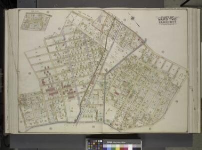 Queens, Vol. 2, Double Page Plate No. 25; Sub Plan;   [Map bounded by Junction Ave., Canton St., Division St.; Including Forest St.,   Warren St.]; Part of Ward Two Elmhurst; [Map bounded by Roosevelt Ave., Division St., Junction Ave., Newtown Road; I