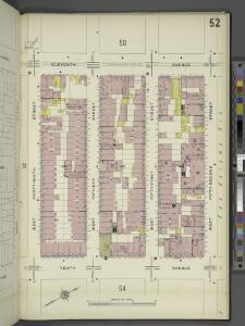Manhattan, V. 5, Plate No. 52 [Map bounded by 11th Ave., West 52nd St., 10th Ave., West 49th St.]