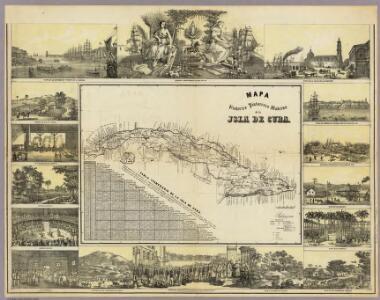 Mapa Historico Pintoresca Moderno de al Isla De Cuba.