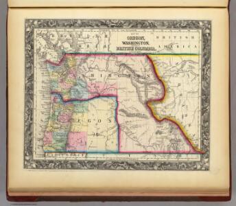 Map Of Oregon, Washington, And Part Of British Columbia.