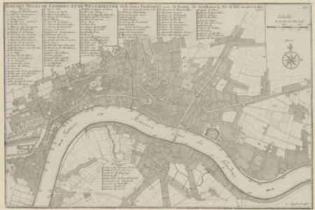 PLANES DES VILLES DE LONDRES ET DE WESTMINSTER et de leurs Faubourges, avec le Bourg de Southwark