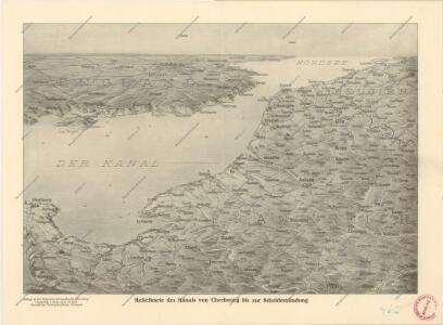 Reliefkarte des Kanals von Cherbourg bis zur Scheldemündung mit Südost - England und Nordfrankreich