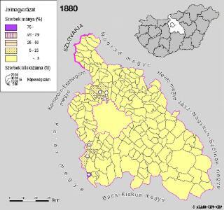 A szerbek aránya és száma Pest megyében 1880-ban