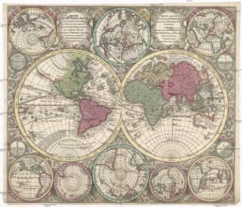 Diversi globi terr-aqvei statione variante et visu intercedente, per coluros tropicorum, per ambos polos et particul. sphaerae zenith, in planum delineati orthographici prospectus
