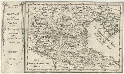 Kleine und Versicherte Karten von der gantzen Lombardia gegen Osten anzusehen