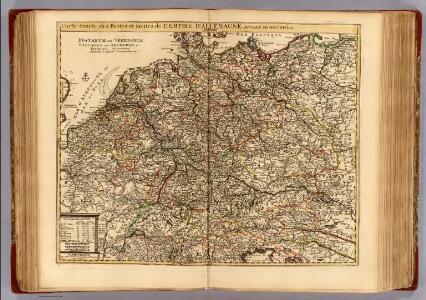 Carte exacte des postes et routes de l'Empire d'Allemagne divisee en ses cercles.