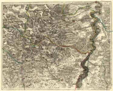 Partie du Cours du Rhein, ou se Trouvent les Villes de Spire Philipsbourg Landau Hagenau et le Fort Louis, Dessigne et Levee sur les Lieues