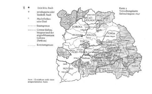 Verwaltungskarte Siebenbürgens 1847