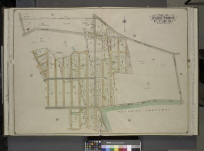 Queens, Vol. 3, Double Page Plate No. 9; Part of Ward Three Flushing. [Map bounded by Sanford Ave., Lucerne PL., Cypress Ave., Queens  Ave., Broadway, Franconia Ave., Queens Road, Rocky Hill Road, Cemetery Lane;     Including Murray St., Delaware St.,