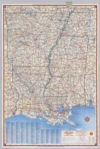 Shell Highway Map of Arkansas-Louisiana, Mississippi.