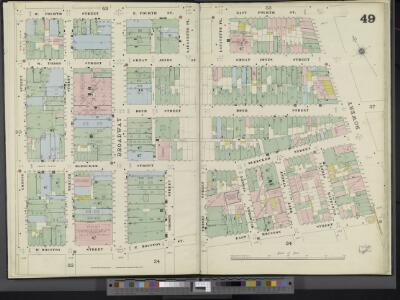 Manhattan, V. 3, Double Page Plate No. 49 [Map bounded by E. 4th St., Bowery, E. Houston St., W. Houston St., Greene St., W. 4th St.]