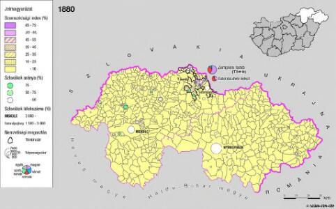 A szlovákok településterülete a szomszédsági mutató alapján Északkelet-Magyarországon 1880-ban